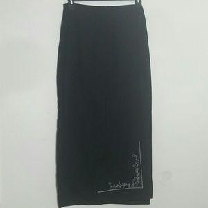 Skirt black cotton white embroidery maxi pencil
